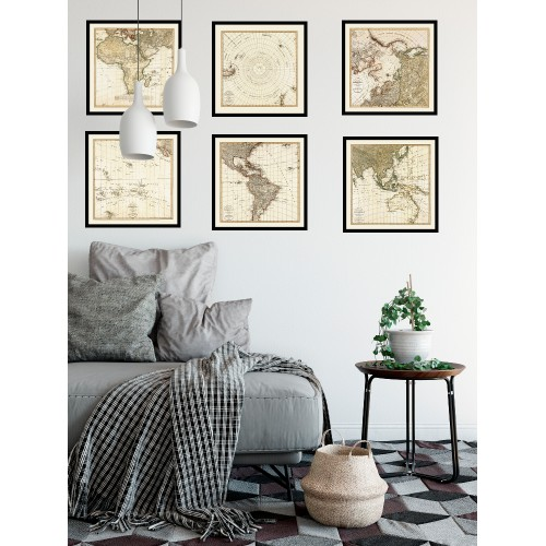 Set: six antique maps depicting the world