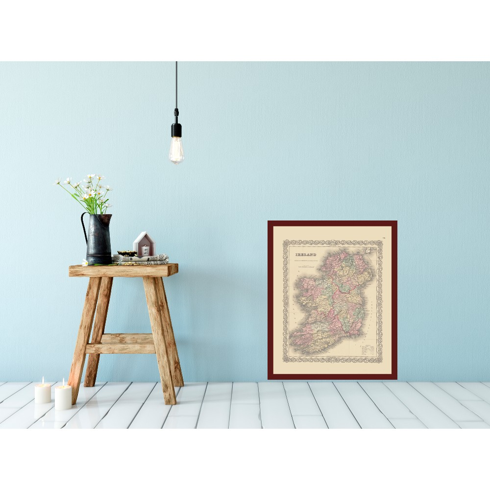 Old Wall Map Of Ireland Vintage Map Poster Pritnted On Canvas