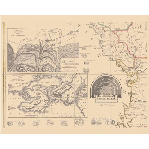 Greece - Vintage Map Print - Parts 6, 7, and 8