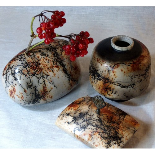 Set of Three Vases - Raku Pottery for Sale
