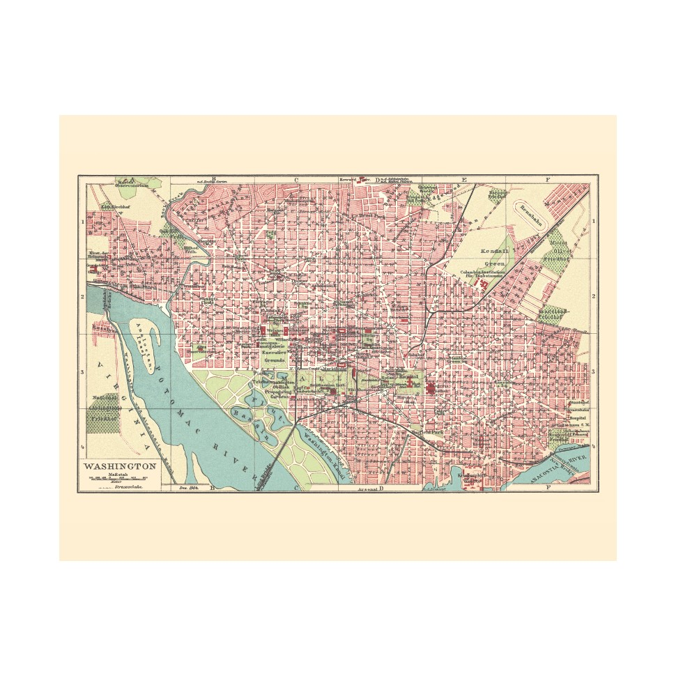 photograph regarding Washington Dc Printable Map named Washington D.C. Outdated Metropolis Print - Vinatge Map Prints for Sale