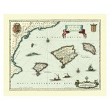 Mapa Viejo Enmarcado de las Islas Baleares