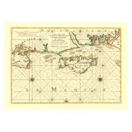 Isle of Wight Antique Map - Canvas Print