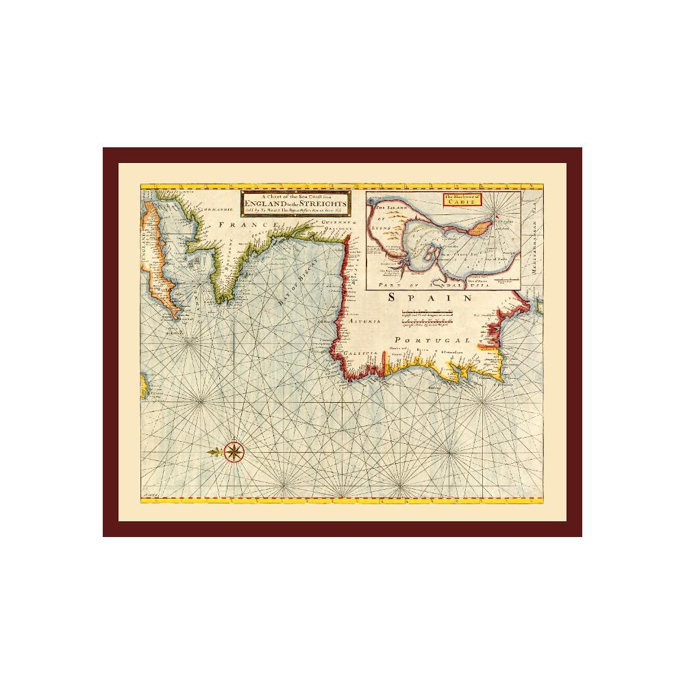 Old Nautical Map of the Atlantic Coast - Print on Canvas on scenes of ireland, views of ireland, vintage old maps, men of ireland, queen of ireland, republic of ireland, beauty of ireland, country of ireland, art of ireland, states of ireland, vintage map scotland, vintage map art, prince of ireland, vintage map england, countryside of ireland, pocket maps of ireland, pottery of ireland, economy of ireland, princess of ireland, vintage maps of philadelphia,