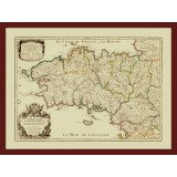 Ancient Map Print of Brittany