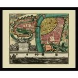 Framed Historical Map of Prague