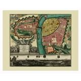 Framed Ancient Map of Prague