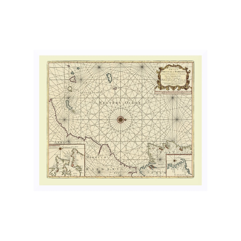 Ancient Nautical Map Canary Island