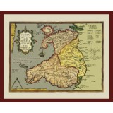 Framed Historical Map of Wales