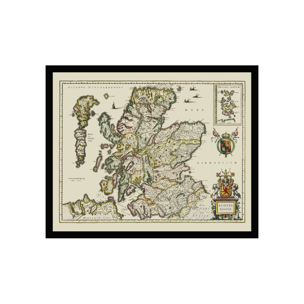 Vintage Map Poster of Scotland for Pub Wall Decor - Canvas Print