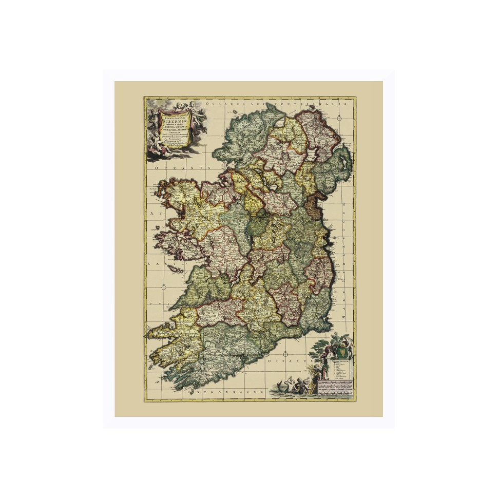 Map Of Ireland Print.Ireland Old Map Reproduction For Wall Art Canvas Print
