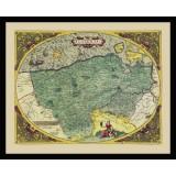 ingelijste antieke kaart van Vlaanderen