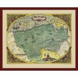 ingelijste historische kaart van Vlaanderen