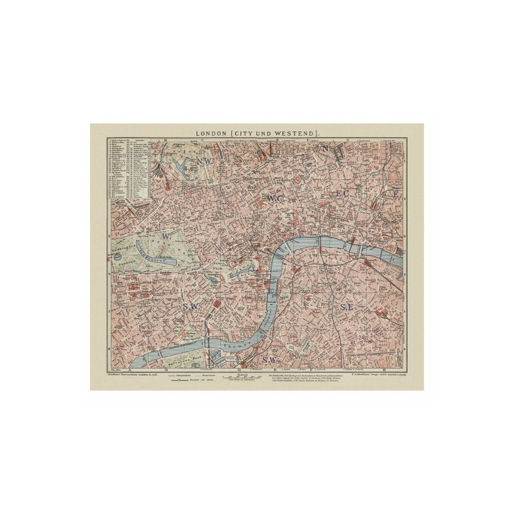 London Old City Prints - London Vintage Map Poster Printed on Canvas