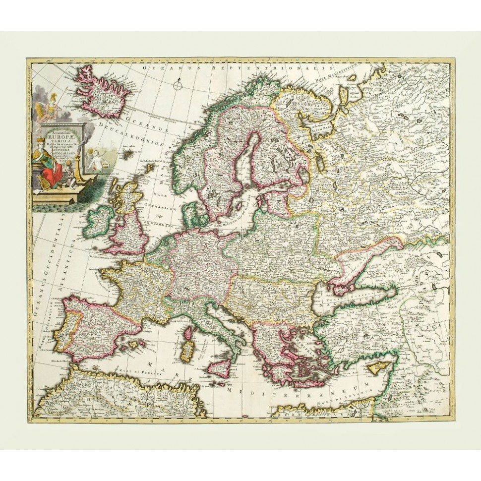 Antique Europe Map Poster Canvas Print