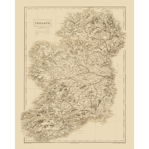 Antique Ireland Map printed on Canvas