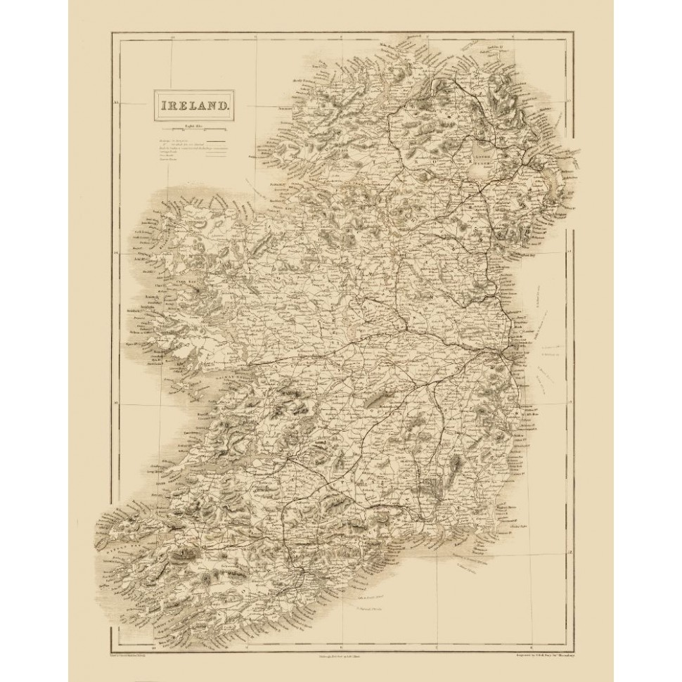 Ancient Map Of Ireland.Ireland Ancient Map Poster Printed On Handmade Paper Or Canvas