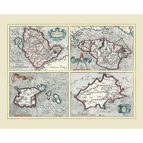 Historical map of Anglesey, Jersey, Guernsey, Isle of Wight - Print on Canvas