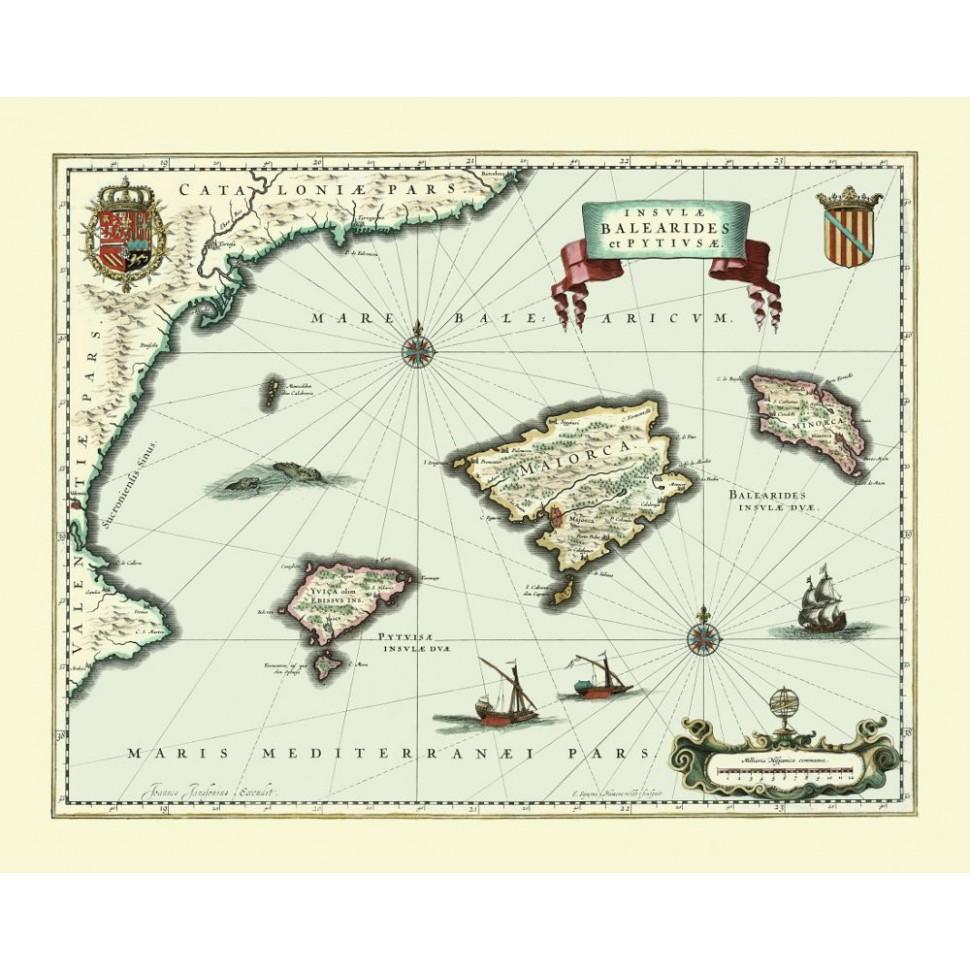 Mapa vintage de las Islas Baleares - imprimir en lienzo