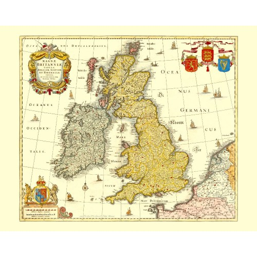 graphic regarding Printable Map of Uk and Ireland known as Previous Superior Britain Map - British isles Antique Map Replica
