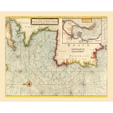 Old Nautical Map Spain, Portugal, France