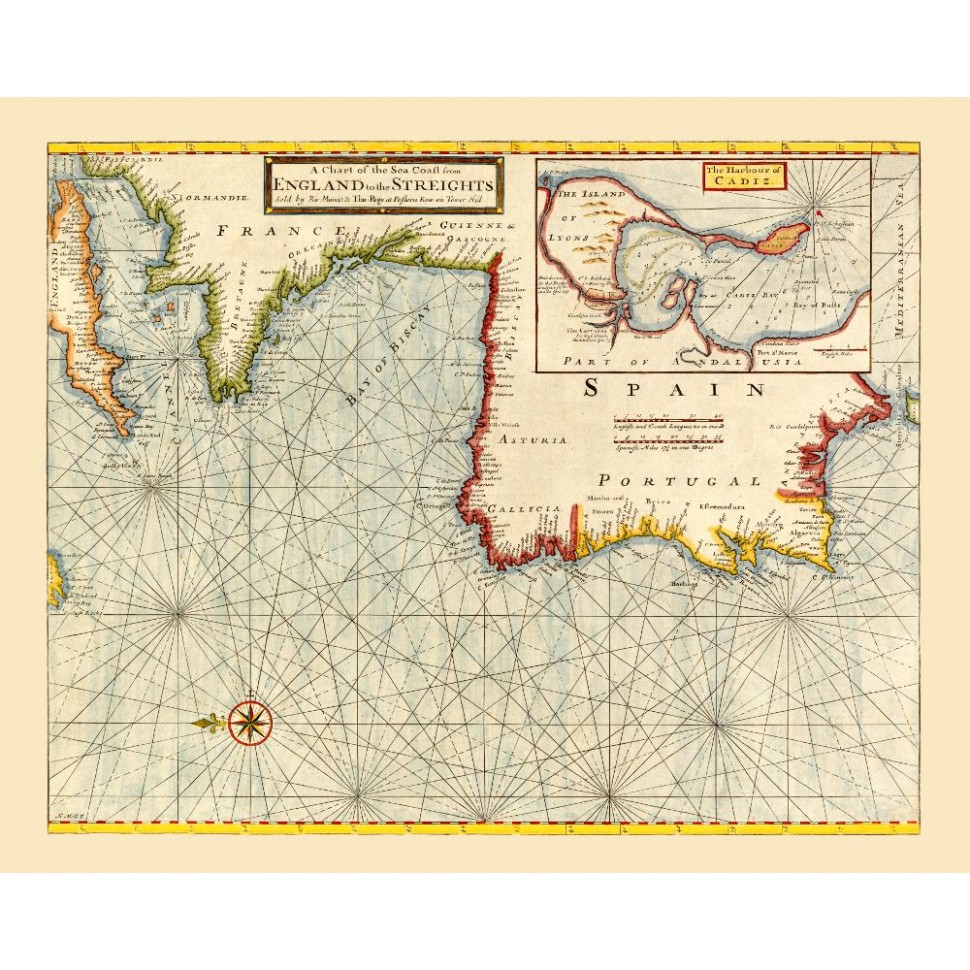 Map Of Spain And Portugal And France.Old Nautical Map Of The Atlantic Coast Print On Canvas