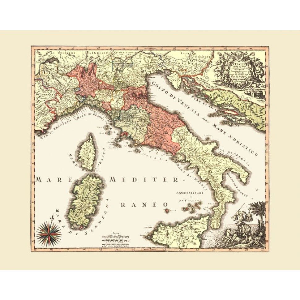 graphic regarding Printable Maps of Italy identify Previous Map Print of Italy for Wall Artwork - Print upon Canvas