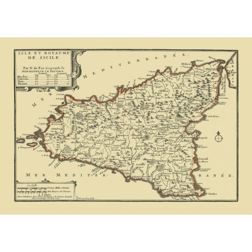 image relating to Printable Map of Sicily identified as Sicily Antique Map Replica - Revealed upon Canvas or