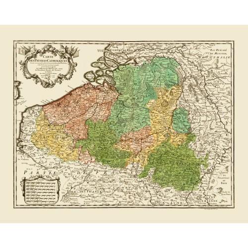 Belgium: Vintage Map Poster