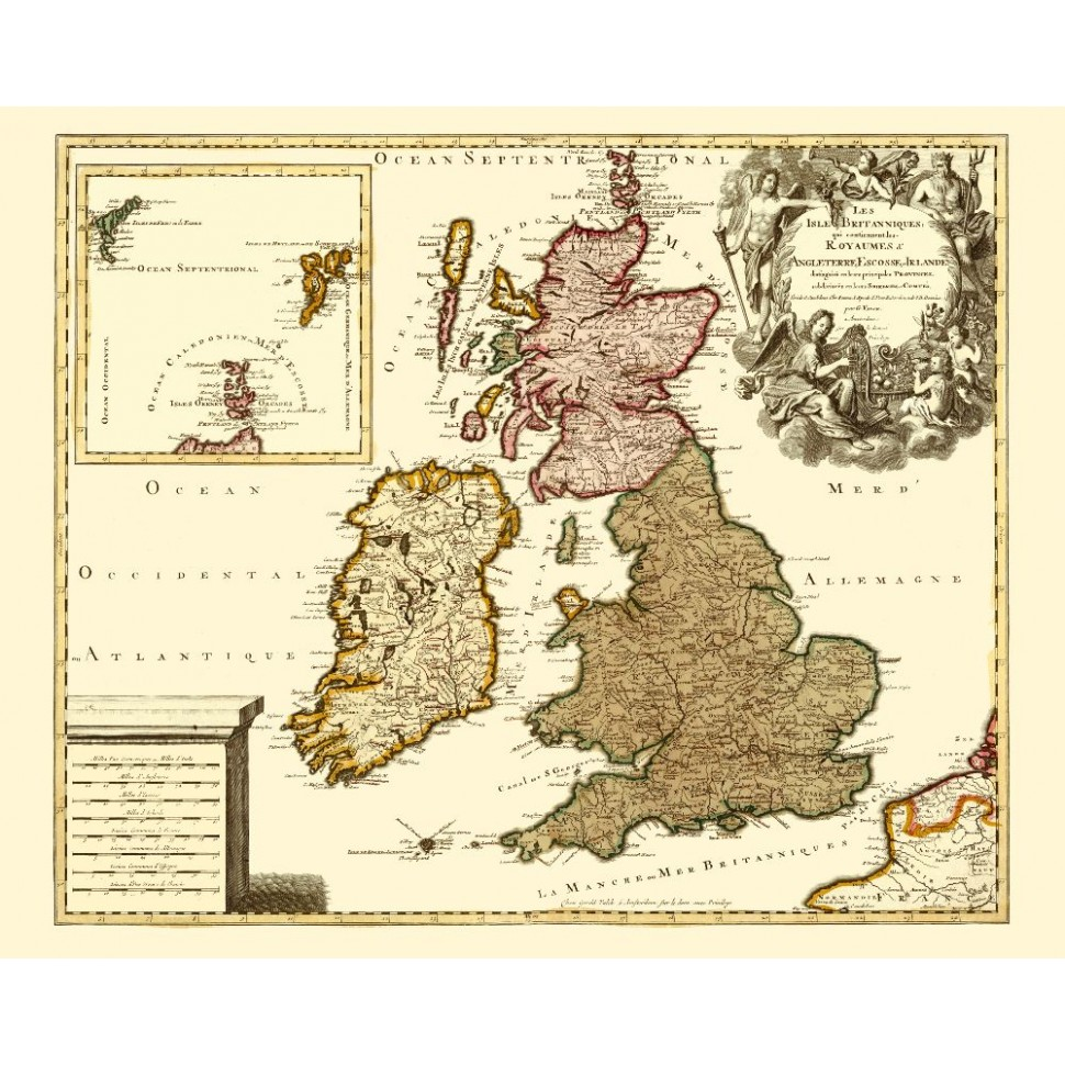 photograph about Printable Map of Uk and Ireland known as United kingdom and Eire Aged Wall Map for Resort Wall Decor - Canvas Print