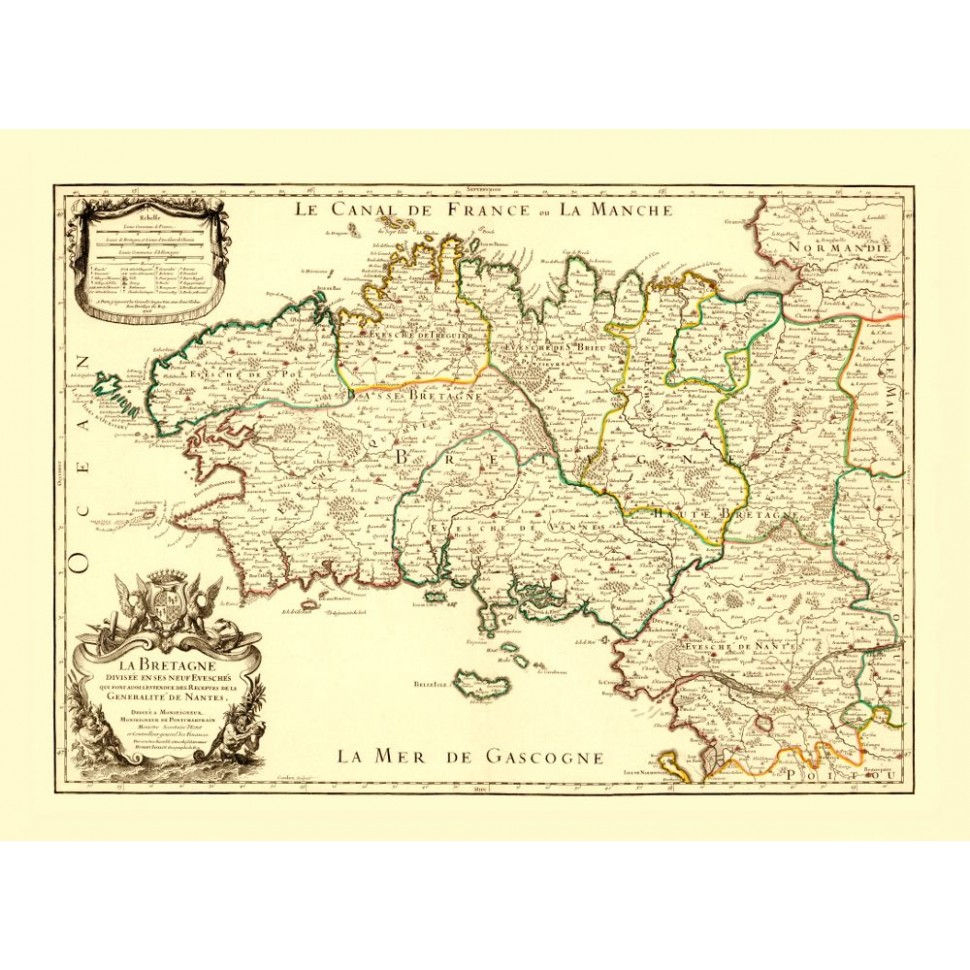 Vintage Map Poster of Brittany