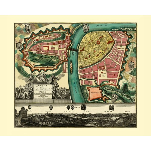 Antique Map of Prague