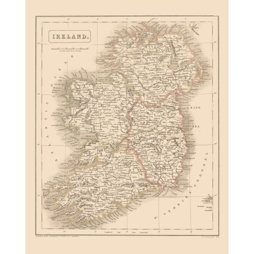 Antique Ireland Map Poster