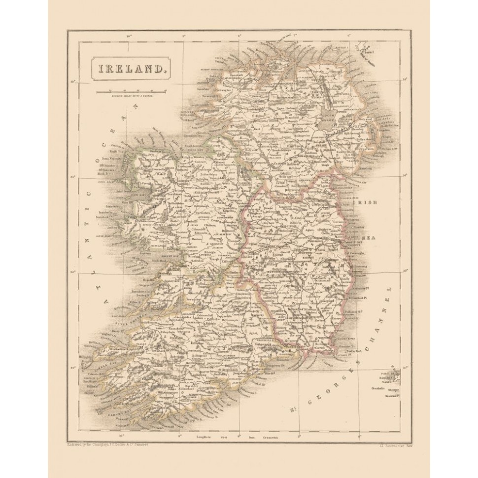 Map Of Ireland Print.Antique Ireland Map Reproduction Printed On Canvas Or Handmade Paper