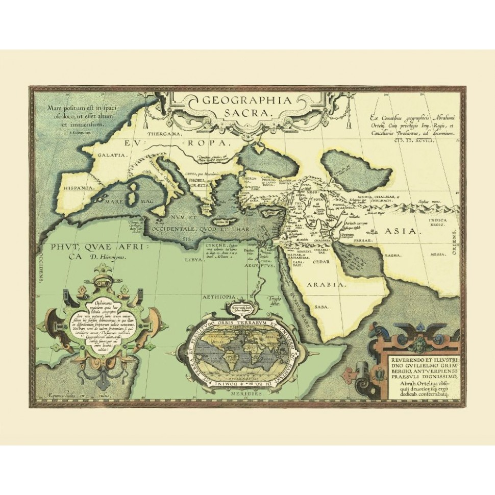 Europe, North Africa and the Midde East Old Map Printed on Canvas