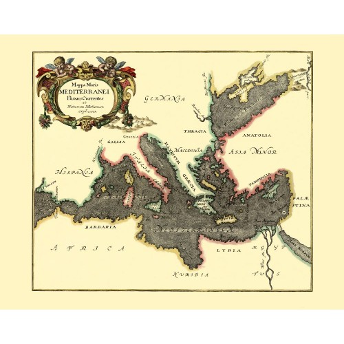 Mediterranean Sea antique map
