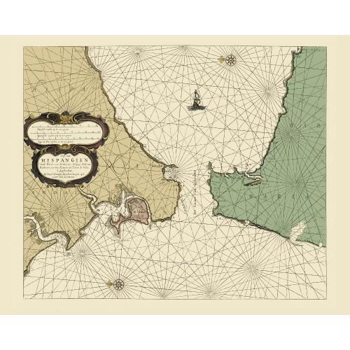 Vintage Nautical Map: Strait of Gibraltar