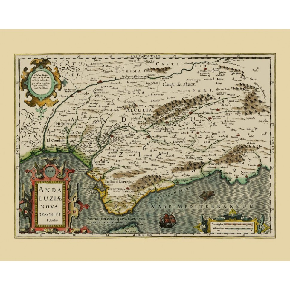 Map Of Spain Old.Andalusia Southern Spain Old Map Reproduction Print On Canvas