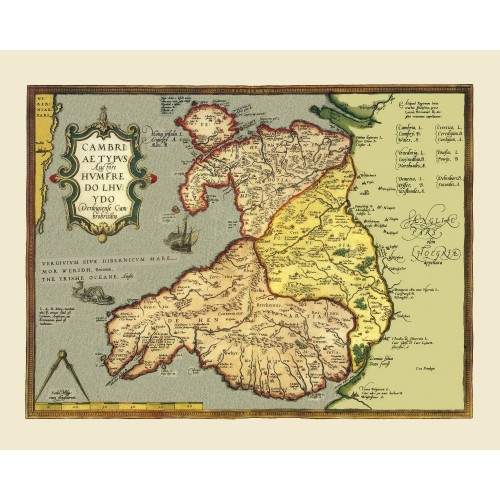 Wales: Old Map Print
