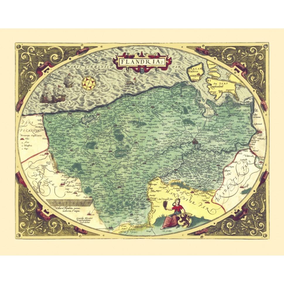 Antieke kaart van Vlaanderen
