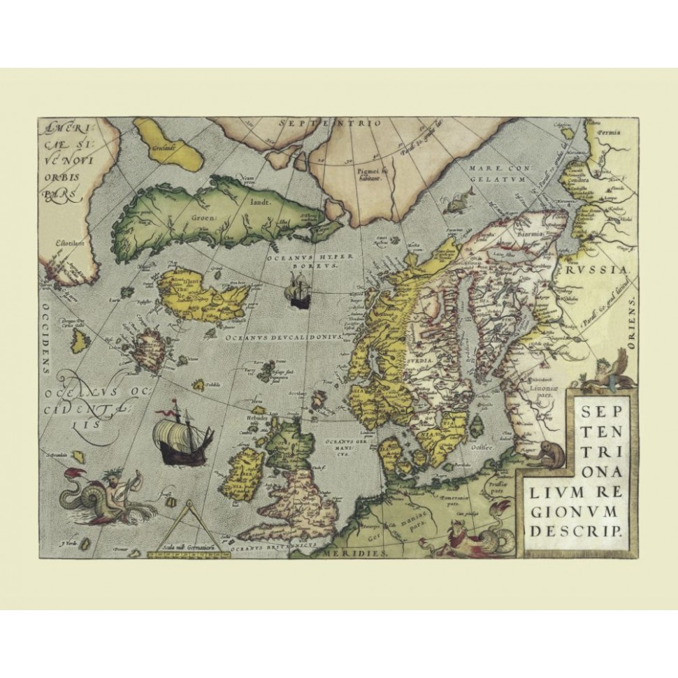 Vintage map of Northern Atlantic printed on canvas