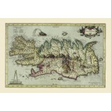 Vintage Map of Iceland Printed on Canvas
