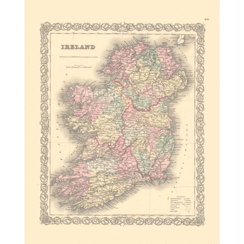 omlijst antieke kaart van Ierland