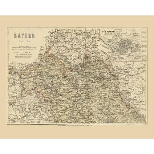 antike gerahmte Karte von Bayern