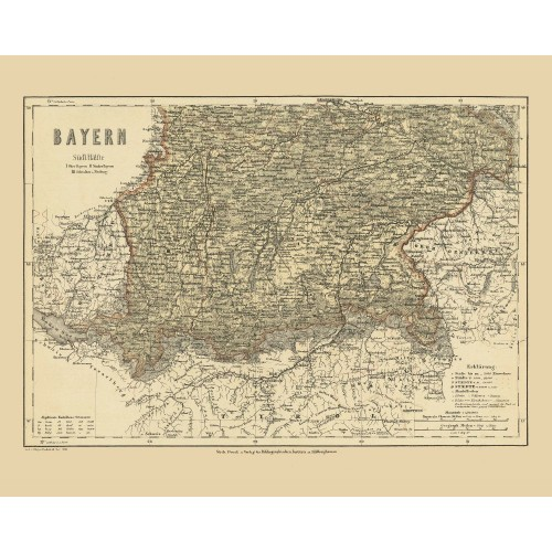 historical wall map of Bavaria printed on Canvas