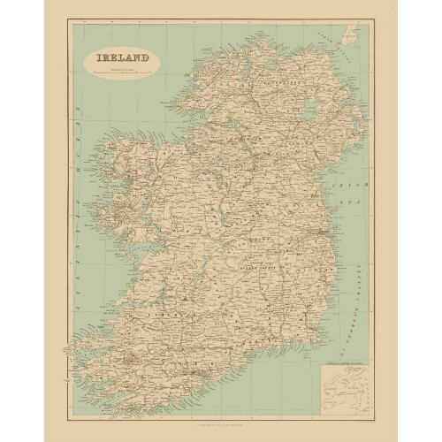 Old Ireland Map Printed on Canvas