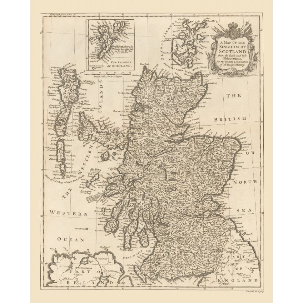 Old Map of Scotland - Historical Map Posters Printed on Canvas