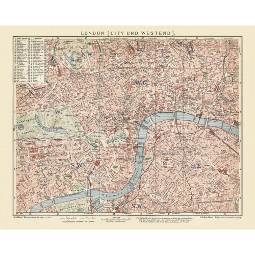 London Antique City Map