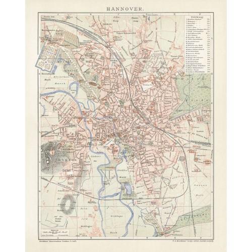 Vintage Stadtplan von Hannover
