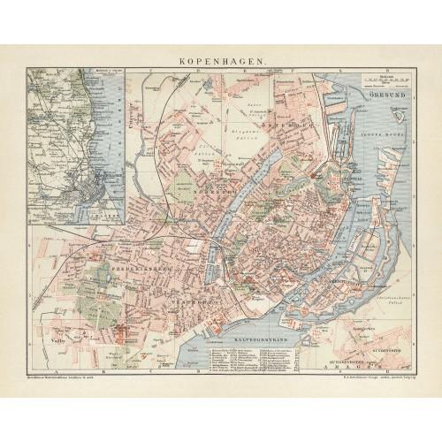 vintage city plan af københavn